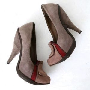 MARNI Beige Red Suede Loafer Pumps Cone Heels tan